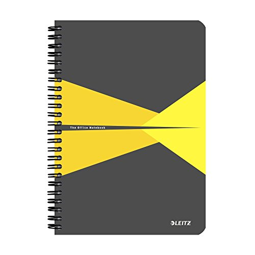 Leitz A5 Stiff Cover Notebook, Yellow (Wire Bound, 90 Sheets, Ruled, 1 Bookmark, 90 gsm Ivory Paper, Office Range) from Leitz
