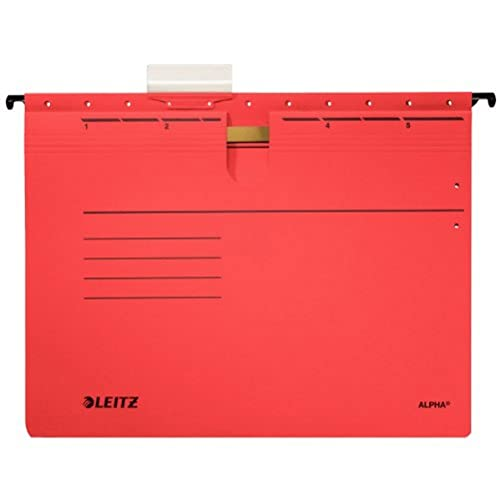 Leitz Alpha 19843025 Suspension Files for Professional Filing Pack of 5 Coloured Card Red from Leitz