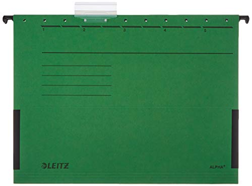 Leitz Alpha 19863055 Suspension Files with Side Hooks Pack of 5 Coloured Card Green from Leitz