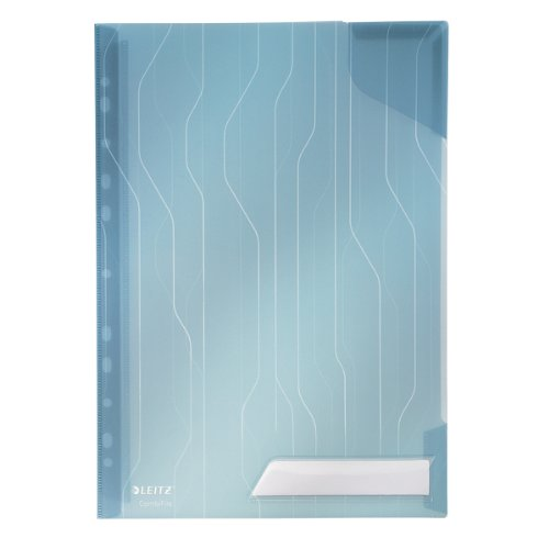 Leitz Combifile Folder A4, Clear Blue Matt Finish, Top Left Open, 200 Micron Polypropylene, Pack of 5, 47260035 from Leitz