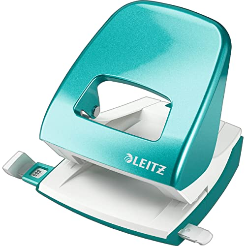 Leitz Hole Punch, 30 Sheets, Guide Bar with Format Markings, Metal, WOW Range, 50081051 - Ice Blue from Leitz