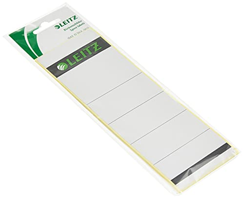 Leitz Self Adhesive Replacement Spine Labels for Standard 80 mm Lever Arch Files, Wide and Short, 61 x 192 mm, Paper, 16420085 - Grey/light grey, Pack of 10 from Leitz