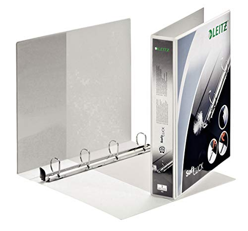 Leitz 4 Ring Binder, Holds up to 280 Sheets, SoftClick Range, 51 mm Spine, 42020001 - A4, White from Leitz