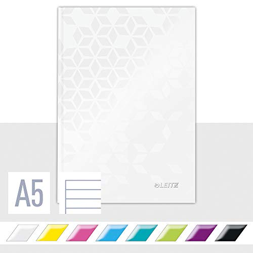 Leitz A5 Hard Cover Notebook, Pearl White 80 Sheets, Ruled, 90 gsm Ivory Paper, Wow Range from Leitz