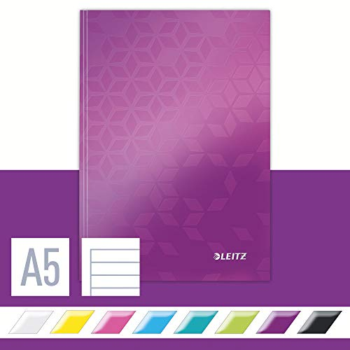 Leitz A5 Hard Cover Notebook, Purple (80 Sheets, Ruled, 90 gsm Ivory Paper, Wow Range) from Leitz