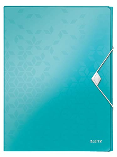 Leitz 46290051 Box File, Holds up to 250 A4 Sheets, Elastic Closure, Flexible Plastic, Ice blue Metallic, WOW Range from Leitz