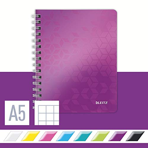 Leitz A5 Flexible Cover Notebook, Purple (Wire Bound, 80 Sheets, Squared Paper, 90 gsm Ivory Paper, Wow Range), Pack of 1 from Leitz