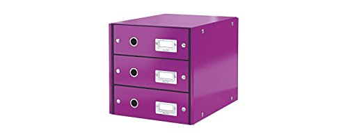 Leitz Drawer Cabinet, 3 Drawers, A4, Click and Store Range 60480062 - Purple from Leitz