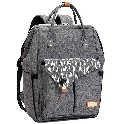 Lekebaby Baby Nappy Changing Backpack Bag with Changing Mat, Arrow Print, Grey from Lekebaby