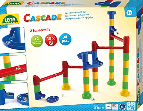Lena 65289 Cascade Marble Run Building Kit with 32 Railing Elements, 2 Curved Parts and 10 Glass Marbles, Motor Skill and Construction Toys for Children from 3 Years, Colourful from Lena Meyer-Landrut