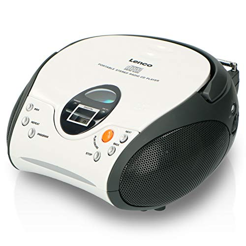 Lenco SCD-24 Portable Stereo Boombox with Programmable CD Player and FM radio – White & Black from Lenco