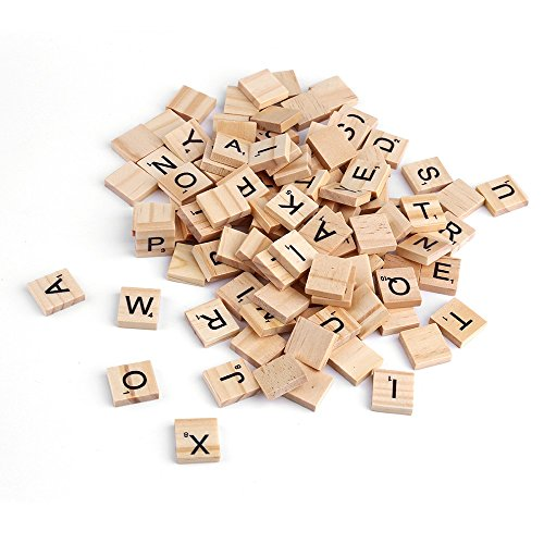 100Pcs Wooden Alphabet Scrabble Tiles Black Letters & Numbers For Crafts Wood from Leosky