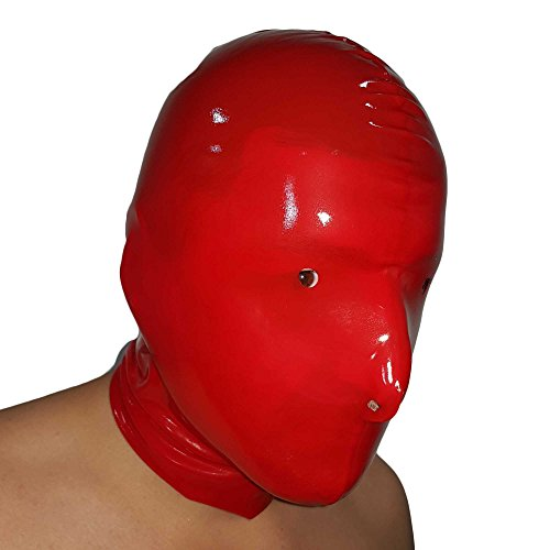 Brand New Transparent Red Latex Rubber Gummi Hood Mask (one size) from Lequida