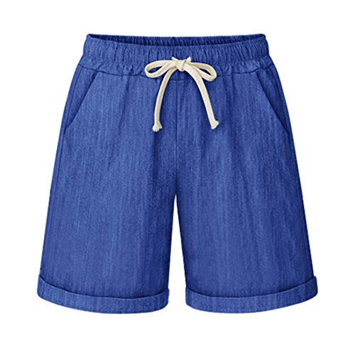 Les umes Women's Casual Retro Loose Bermuda Beach Stretch Baggy Denim Tapered Autumn Shorts Trousers Pants with Pocket Denim Blue UK 12/Lable Size XL from Les umes