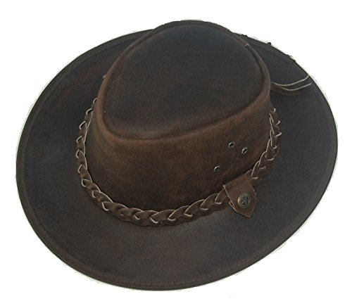 f661e368548 LEATHER COWBOY WESTERN AUSSIE STYLE OUTBACK BUSH HAT (XL 60 -CM) Brown from