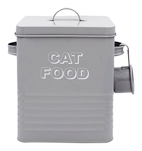 Lesser & Pavey New Sweet Home Cat Food tin with Scoop, Metal, Grey, 18 x 15 x 25 cm from Lesser & Pavey