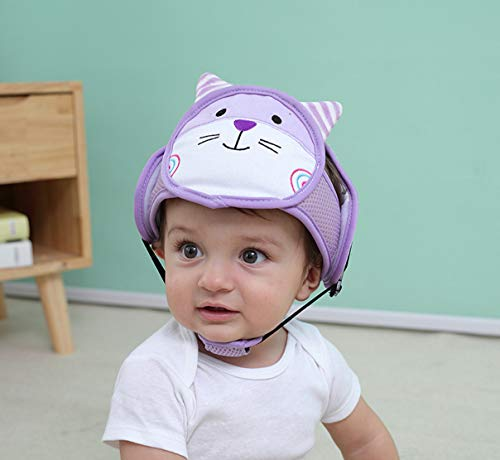 Baby Safety Protector Helmet, Toddler Safety Head Guard Cushion, Infant Safety Hat Anti-Collision Head Protective Cap, Adjustable Breathable Baby Safety Headguard for Kids Walking Crawling (Purple) from Lethend