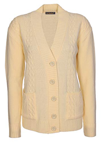 d62aa17e8a430b Lets Shop Shop New Classic Womens Cardigan Ladies Sizes 10-20 Cable Knit  Long Sleeve