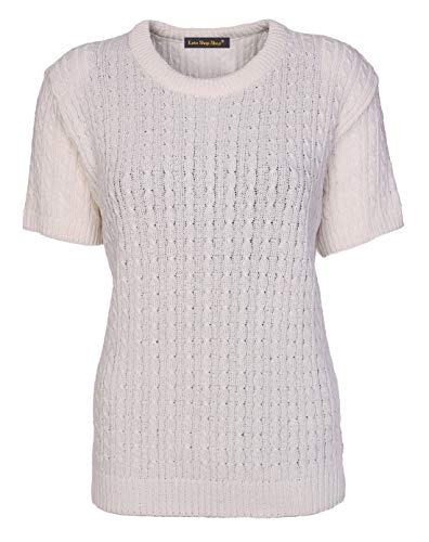 Womens Cable Knit Short Sleeves Jumpers Ladies Classic Knitwear Half Sleeves Sweater Pullover T Shirt Blouse Top Size 10 12 14 16 18 (10-12, Cream) from Lets Shop Shop