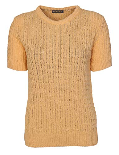 Womens Cable Knit Short Sleeves Jumpers Ladies Classic Knitwear Half Sleeves Sweater Pullover T Shirt Blouse Top Size 10 12 14 16 18 (10-12, Soft Mustard) from Lets Shop Shop