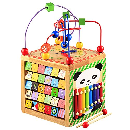 Lewo Wooden Activity Cube Bead Maze Learning Educational Toys Activity Center for Toddlers Babies Kids Boys Girls (Cube Bead Maze) from Lewo