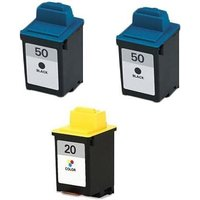 2 x Black Lexmark No. 50 and 1 x Colour Lexmark No. 20 (Lexmark Remanufactured Ink) + 1 Free Paper from Lexmark