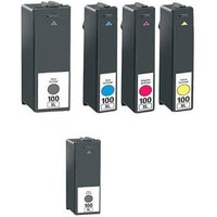 Compatible Multipack Lexmark 100XL Full Set + 1 EXTRA Black Ink Cartridge + 1 Free Paper (5 Pack) from Printerinks