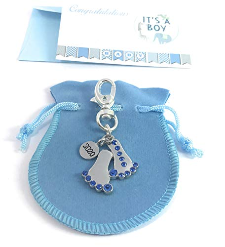 Baby Feet 2018 with Blue Rhinestone Keyring with Gift Bag Handmade by Libby's Market Place from Libby's Market Place