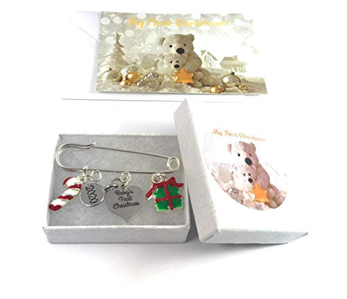 Baby's First Christmas 2017 Nappy Safety Pin Keepsake Charms with Candy Cane and Christmas Gift Box Charms with 3 Different Gift Options Handmade by Libby's Market Place ~ From UK Seller (Gift Box) from Libby's Market Place
