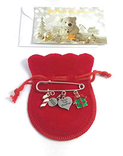 Baby's First Christmas 2017 Nappy Safety Pin Keepsake Charms with Candy Cane and Christmas Gift Box Charms with 3 Different Gift Options Handmade by Libby's Market Place ~ From UK Seller (Velvet Gift Bag) from Libby's Market Place