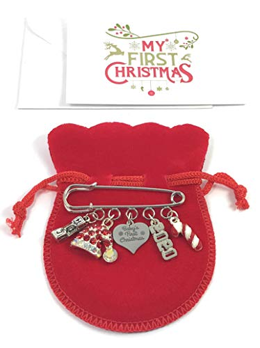 Baby's First Christmas 2018 Nappy Safety Pin Keepsake Charms with Christmas Hat Charm, Candy Cane Charm and Letter Blocks Charm Comes with Red Velvet Gift Bag and Gift Card by Libby's Market Place from Libby's Market Place