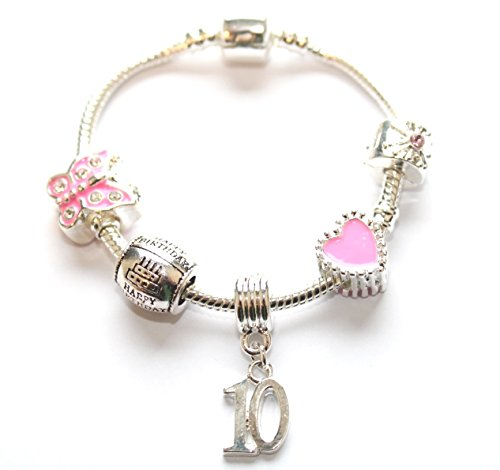 Liberty Charms Childrens Pink Happy 10th Birthday Silver Plated Charm Bead Bracelet. With Gift Box (Other Sizes Available) from Liberty Charms