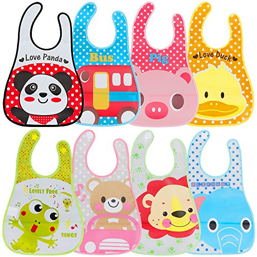 Lictin Baby Bib Set of 8 Waterproof Unisex Baby Bib EVA Baby Bandana Drool Baby Bib Apron Baby Drool Bibs for Infant Toddler 6 months to 6 years old(M) from Lictin
