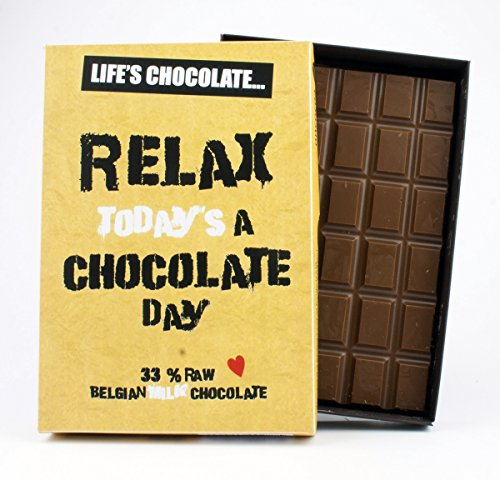 Relax Today's A Chocolate Day 85 Gram Best Life's Chocolate Boxed Gift Bar Box of Chocolates for Women for Friend Friendship Birthday Girlfriend Women Funny Greeting Card Style Humour for Him or Her from Life's Chocolate