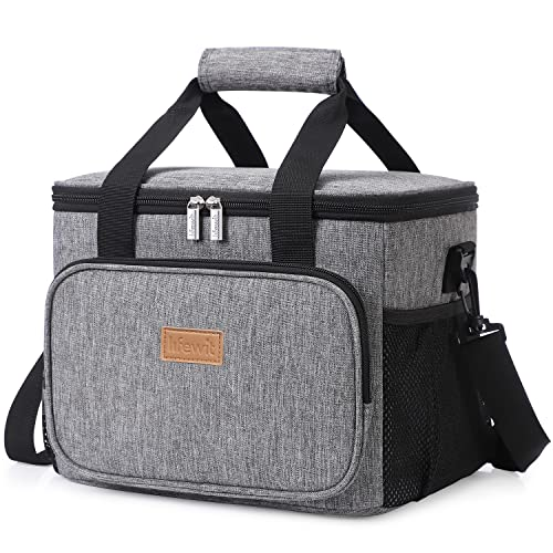 Lifewit 15L 24 Cans Insulated Picnic Lunch Bag Large Soft Cooler Bag for Outdoor/Camping/BBQ/Travel, Grey from Lifewit