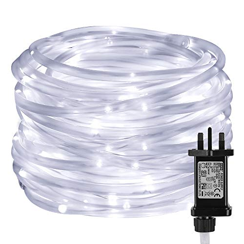 LE Christmas Rope Lights with Timer, 10m 100 LED, 8 Modes, Plug in String Lights, Daylight White, Mains Powered, IP65 Waterproof for Indoor & Outdoor Xmas Decorations, Tree Trunk and More from Lighting EVER