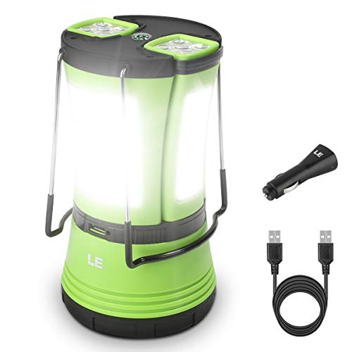 LE LED Camping Lantern with 2 Detachable Torches, USB Rechargeable and Battery Operated, 600 Lumen Tent Light, Outdoor Searchlight for Emergency, Hiking, Fishing, Power Cuts and More from Lighting EVER