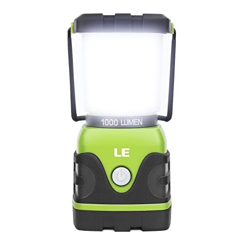 LE Camping Lantern, 1000 Lumen Dimmable LED Camping Light, 4 Modes Emergency Light, Water Resistant Tent Lights for Camping, Hiking, Fishing, Power Cuts, 3*D Battery Powered (Not Included) from Lighting EVER