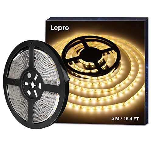 LE 5M Waterproof LED Strips Lights, 300 Units SMD 2835 LED Tape, 1200lm, Warm White, 12V DC LED Ribbon, Outdoor Strip Lighting from LE