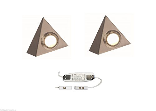 2 X LED TRIANGLE LIGHT KITCHEN UNDER CABINET CUPBOARD BRUSHED CHROME COOL WHITE from Lighting Innovations