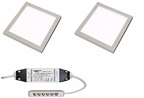 2 X Square Kitchen Light Slim Flat Panel Under Cabinet Cupboard Cool White LED from Lighting Innovations