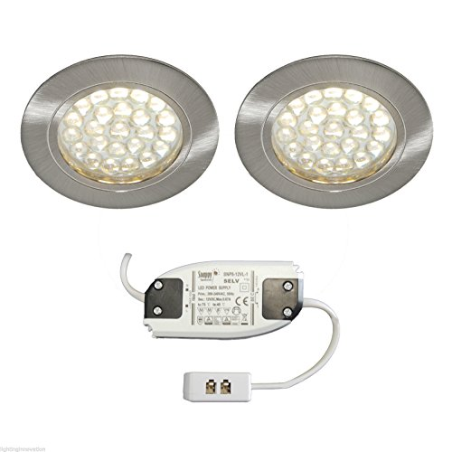 2x RECESSED LED KITCHEN UNDER CABINET CUPBOARD LIGHT KIT SET BRUSHED CHROME RIMINI WARM WHITE from Lighting Innovations