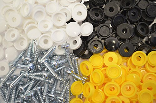 32 X NUMBER PLATE CAR FIXING FITTING KIT 32 SCREWS & 32 CAPS WHITE BLACK AND YELLOW from Lighting Innovations