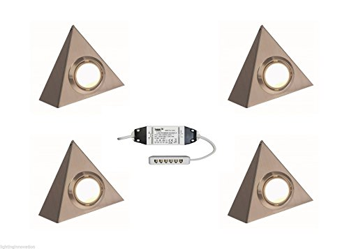 4 x LED TRIANGLE UNDER CABINET KITCHEN CUPBOARD LIGHT COOL WHITE BRUSHED CHROME from Lighting Innovations