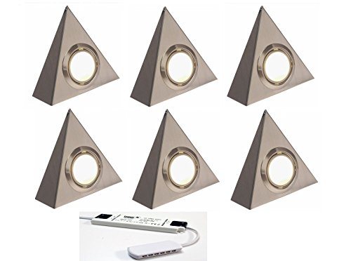 6 X LED TRIANGLE KITCHEN UNDER CABINET CUPBOARD LIGHT WARM WHITE BRUSHED CHROME from Lighting Innovations