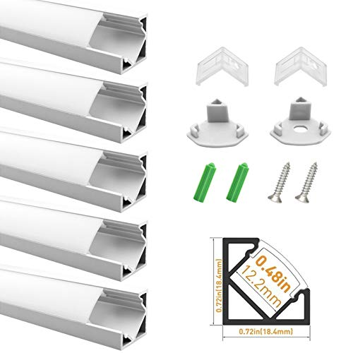 LightingWill LED Aluminum Profile 5-Pack 3.3ft/1M Silver 18x18mm V-Shape Aluminum Channel Internal Width 12mm Corner Mounting Channel with Oyster White Cover, End Caps and Mounting Clips for Flex/Hard LED Strip Light from LightingWill