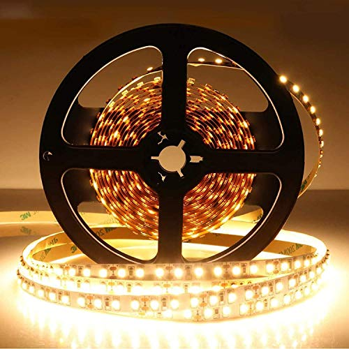 LightingWill LED Strip Light CRI90 SMD3528 16.4Ft(5M) 300LEDs Warm White 3000K-3500K 60LEDs/M DC12V 24W 4.8W/M 8mm White PCB Flexible Ribbon Strip with Adhesive Tape Non-Waterproof H3528WW300N from LightingWill