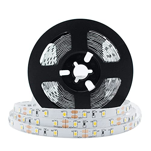 LightingWill LED Strip Light CRI90 SMD3528 300LEDs 16.4Ft/5M Ultra Warm White 2700K-3000K DC12V 24W 60LEDs/M 4.8W/M 8mm White PCB Flexible Ribbon Strip with Adhesive Tape Non-Waterproof H3528UWW300N from LightingWill