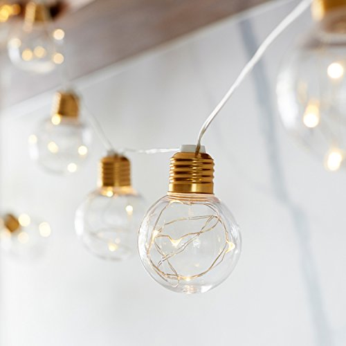 10 Brass Micro LED Festoon Party Lights for Indoor Outdoor Use by Lights4fun from Lights4fun