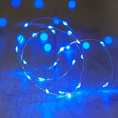 Lights4fun Battery Operated Fairy Lights with 20 Micro Blue LEDs on Silver Wire from Lights4fun